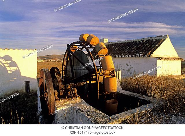 noria for irrigation around Puerto Lapice, Province of Ciudad Real, autonomous community Castile-La Mancha, Spain, Europe