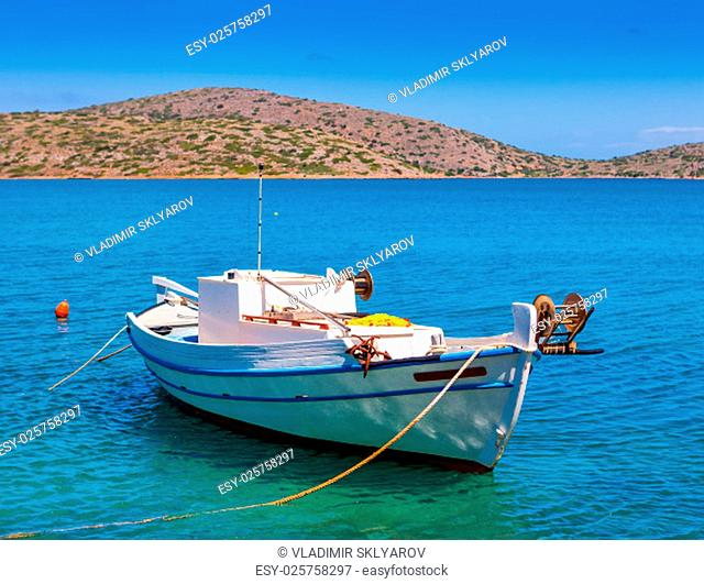 Fishing Boat off the coast of Crete, Mirabello Bay,Greece