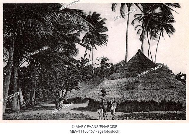 Native village scene, Massanzane, Mozambique, Portuguese East Africa