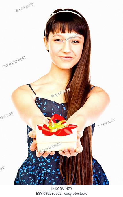 Small and beautiful girl with a gift