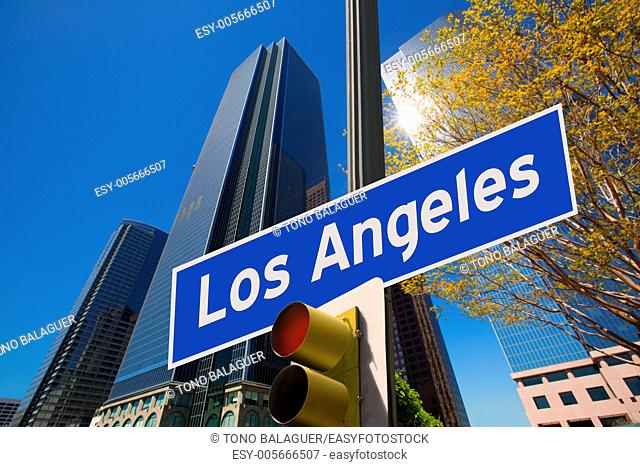 LA Los Angeles sign in redlight digital composite on downtown image