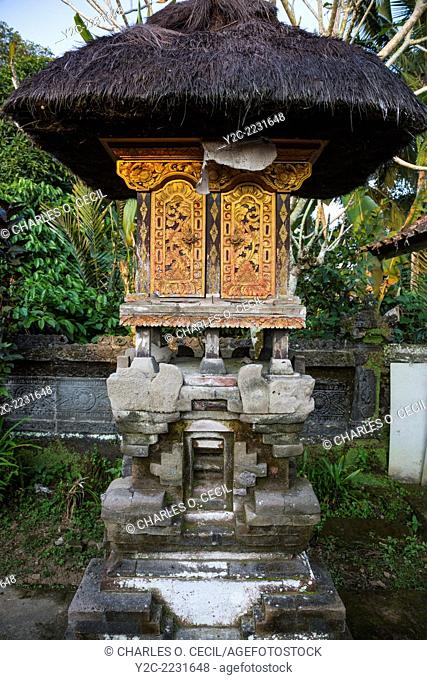 Bali, Indonesia. Shrine to an Ancestor inside a Hindu Balinese Village Family Compound