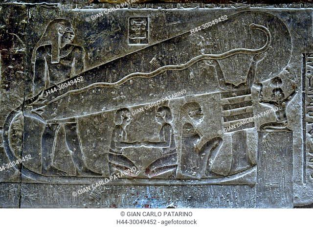Dendera Egypt, ptolemaic temple dedicated to the goddess Hathor. Carvings on internal wall. The lamp