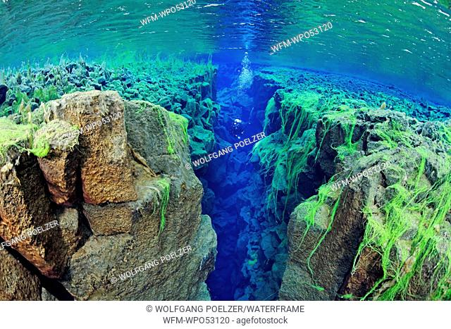 Scuba diving in Silfra Crack, Thingvellir National Park, Iceland