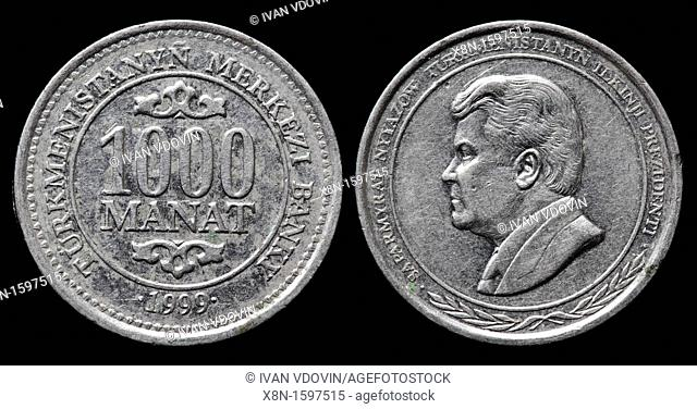 1000 Manat coin, Turkmenistan, 1999