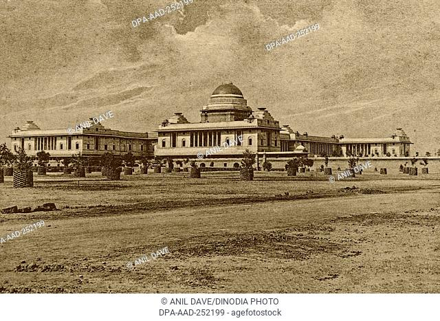 Vintage photo of viceroy house, new delhi, india, asia