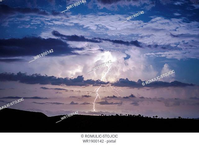 Lightning striking skyline, Dalmatia, Croatia, Europe