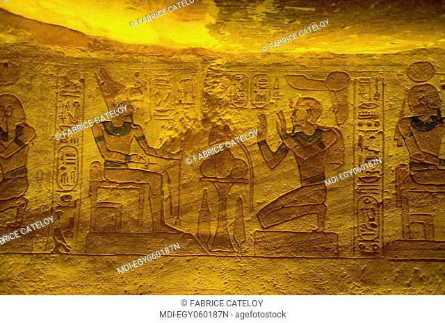 The Temple of Ramesses II - Carved drawings on the walls of the storage rooms describing the offering ceremonies
