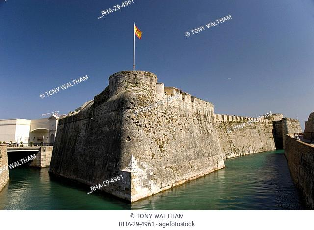 Defensive city wall and moat across the narrow approach isthmus, Ceuta, the Spanish enclave on the coast of Morocco, North Africa, Africa