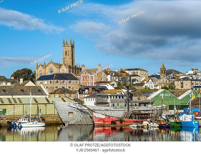 View over the harbor of Penzance in Cornwall, England, UK