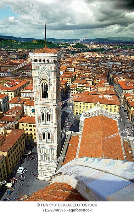 Campinale of the the Gothic-Renaissance Duomo of Florence, Basilica of Saint Mary of the Flower; Firenza ( Basilica di Santa Maria del Fiore ) from the top of...