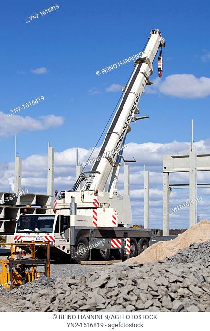 Terex Demag AC 120-1 road mobile crane truck at construction site. Location Oulu Finland Scandinavia Europe EU