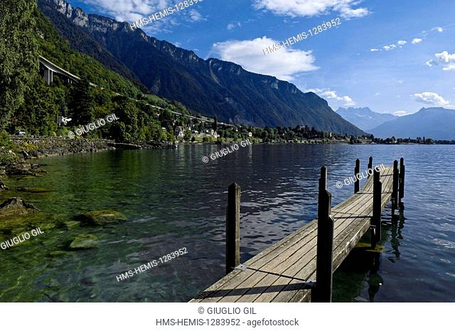 Switzerland, Canton of Vaud, Veytaux, Chillon Castle the most visited monument in the country