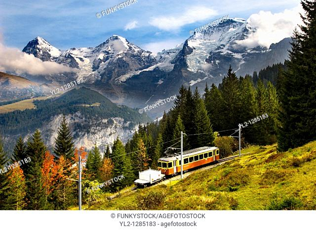 Murren Train with The Eiger 9Left Monch middle & Jungrau left - Alps Switzerland