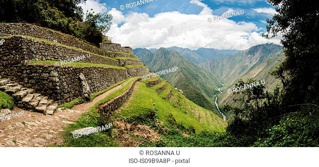Intipata on the Inca trail, Inca, Huanuco, Peru, South America