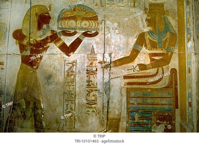 Egypt Temple Of Sethi I King Sethi I Offering To God Hathor Abydos