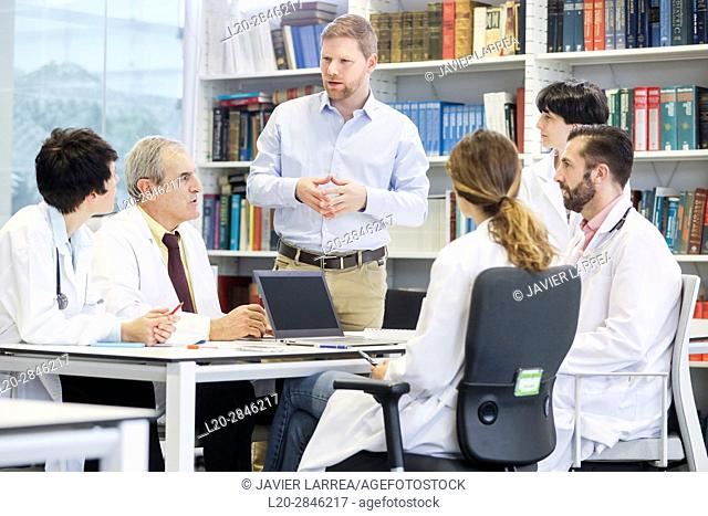 Salesman at doctors' meeting, clinical session, Hospital, Donostia, San Sebastian, Gipuzkoa, Basque Country, Spain