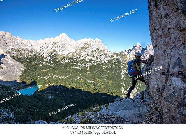 Sorapiss, Dolomites, Veneto, Italy. Climber on the via ferrata Vandelli