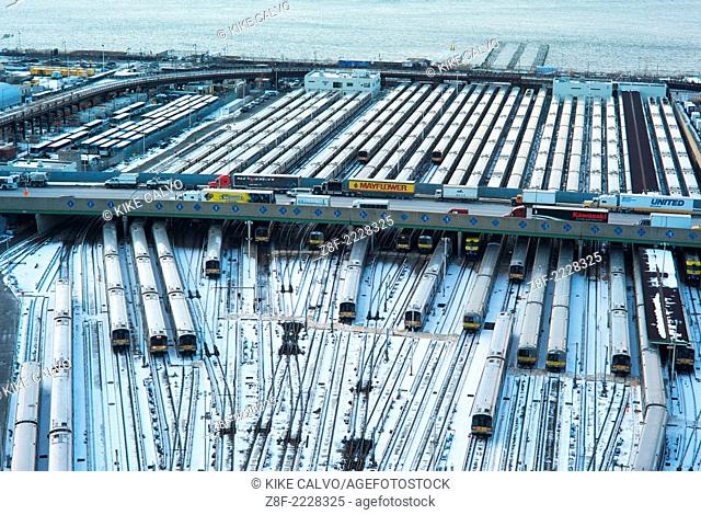 View of the train system next to the Hudson River on 12th Avenue at 33rd street in Manhattan. Photograph from the terrace of the Associated Press building at...