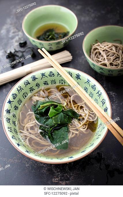 Soba noodle soup with algae (Japan)