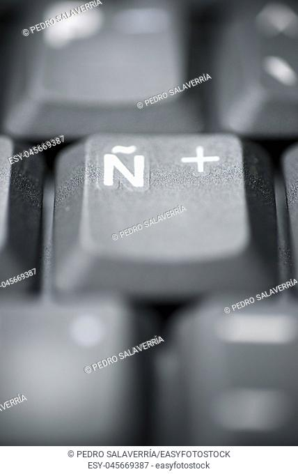 Spanish letter on a gray laptop keyboard