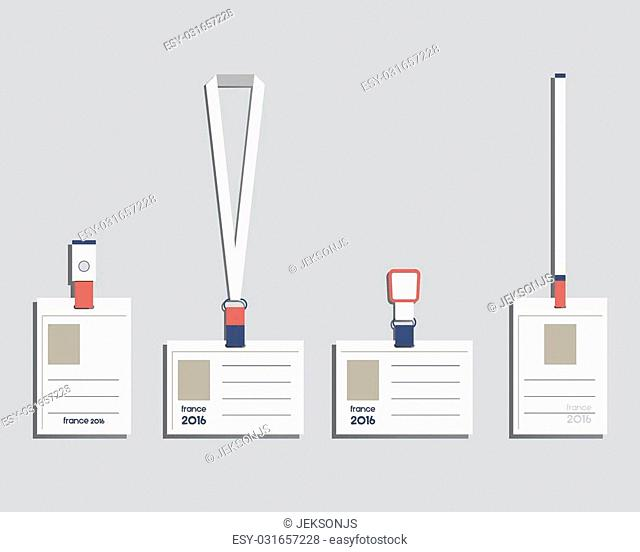 Brand identity elements - Lanyard, name tag holder and badge templates. France 2016 Football. The national colors of France design