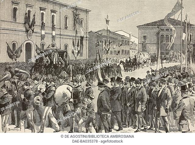Funeral of Alfredo Baccarini (1826-1890) Italian engineer and politician, drawing by A Bonamore, illustration from Il Secolo Illustrato della Domenica, Year II