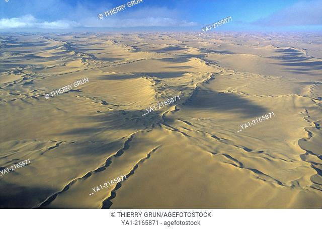 Aerial view of Namib-Naukluft NP desert, north west of Sossusvlei, Namibia, Africa