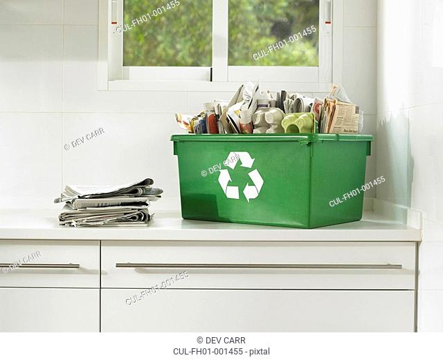 Still life of recycling in a domestic kitchen, close up