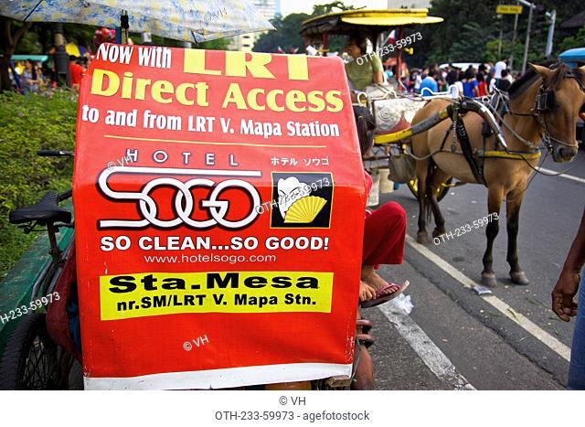 Advertisement on a pedicab, Luneta, Manila, Philippines