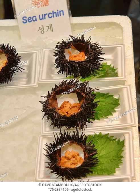 Fresh sea urchin for sale in Nishiki Market, Kyoto, Japan
