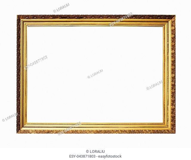 Picture gold wooden frame for design on white isolated background