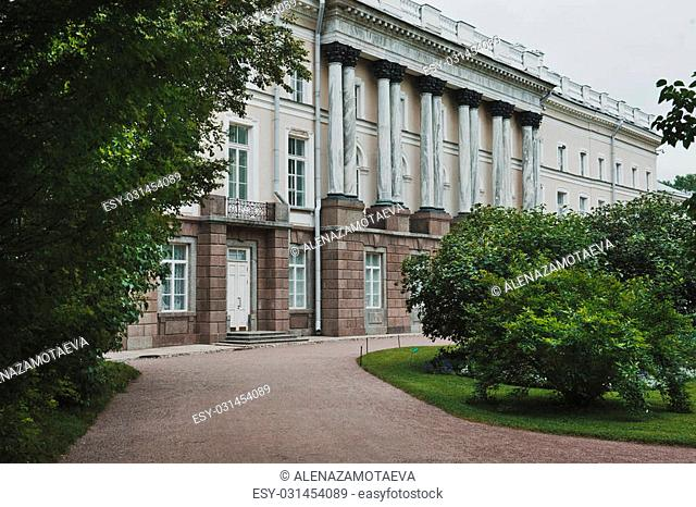 Facade of the well-known building of Tsarskoye Selo located in Catherine Park nearby to the city of St. Petersburg