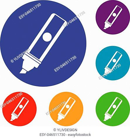 Permanent marker icons set in flat circle red, blue and green color for web