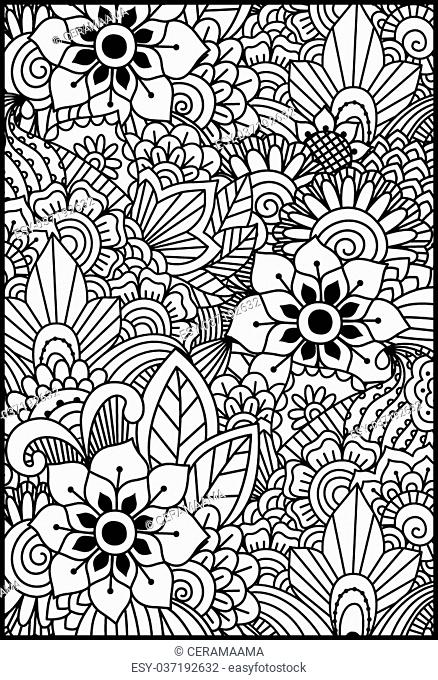 Black and white pattern. Ethnic henna hand drawn background for coloring book, textile or wrapping
