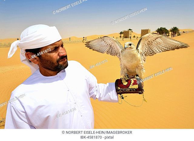 Falconer in front of the desert luxury hotel Anantara Qasr Al Sarab, in the middle of high sand dunes, in the Empty Quarter called sand desert Rub Al Khali