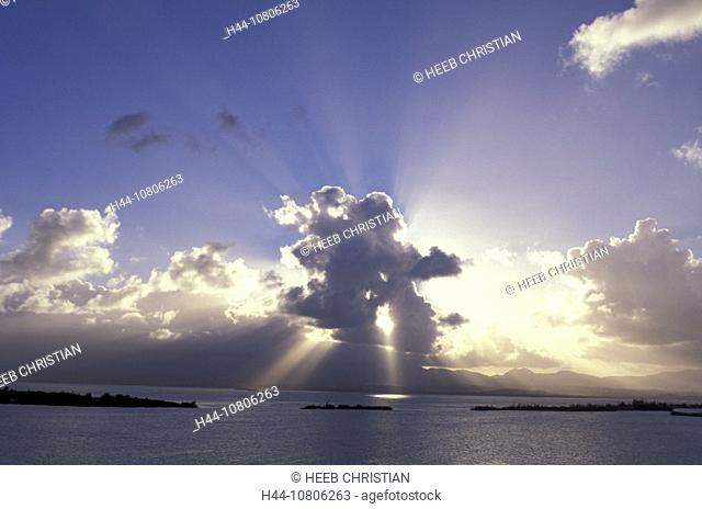 beams, clouds, Guadeloupe, islands, isles, mood, rays, scenery, landscape, sea, Caribbean