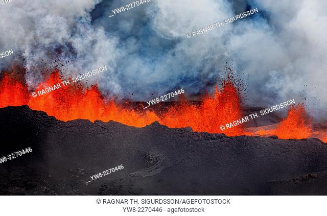 Lava fountains at Holuhraun Fissure eruption near Bardarbunga Volcano, Iceland. Picture Date- Sept. 2, 2014