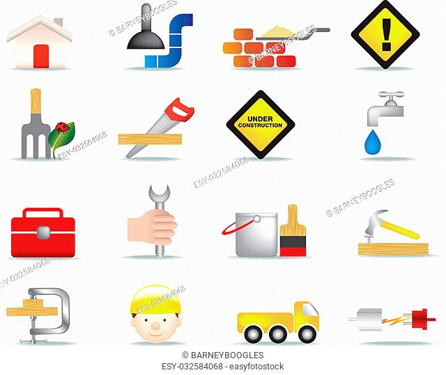 detailed colour icon set of construction and diy icons