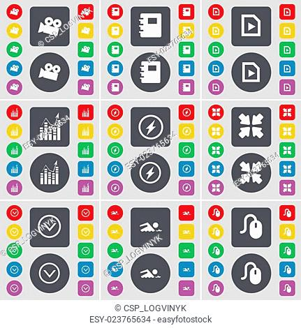 Film camera, Notebook, Media file, Graph, Flash, Deploying screen, Arrow down, Swimmer, Mouse icon symbol. A large set of flat, colored buttons for your design
