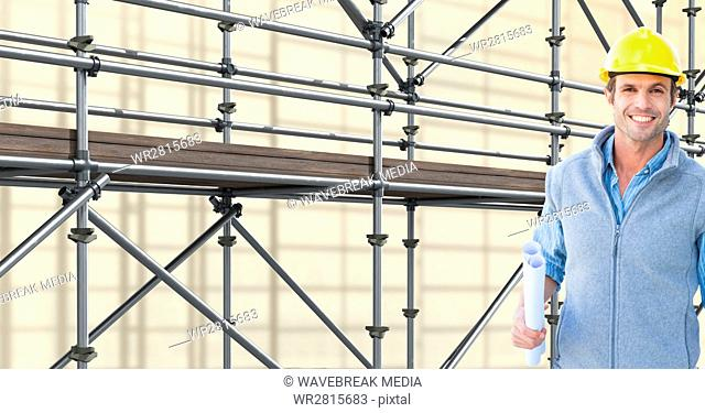 happy architect in front of 3D scaffolding
