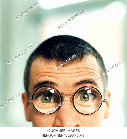Closeup of man with glasses