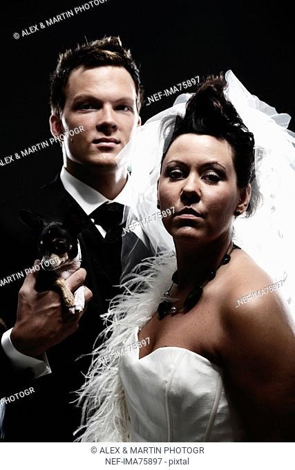 Portrait of a young bridal couple