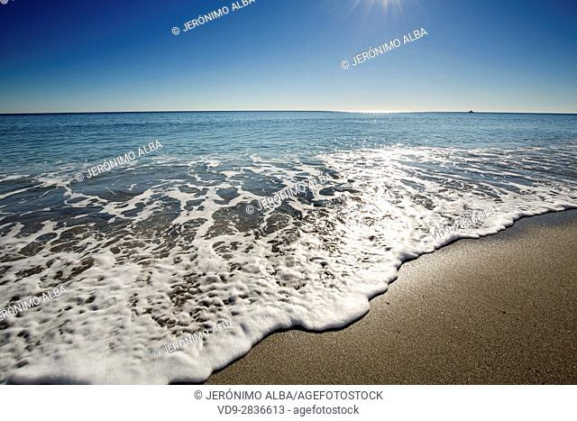 Beach on a sunny day, Marbella. Malaga province. Costa del Sol, Andalusia Southern Spain. Europe