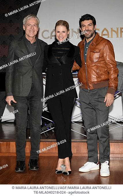Italian singer and Sanremo Festival artistic director Claudio Baglioni, tv presenter Michelle Hunziker, Italian actor Pierfrancesco Favino during the photocall...