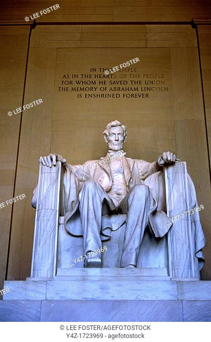 Washington DC, the Lincoln Memorial, recalling Abraham Lincoln, the beloved 16th US president, who was president during the Civil War and signed the...