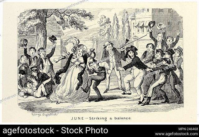 June - Striking a Balance from George Cruikshank's Steel Etchings to The Comic Almanacks: 1835-1853 - 1840, printed c. 1880 - George Cruikshank (English