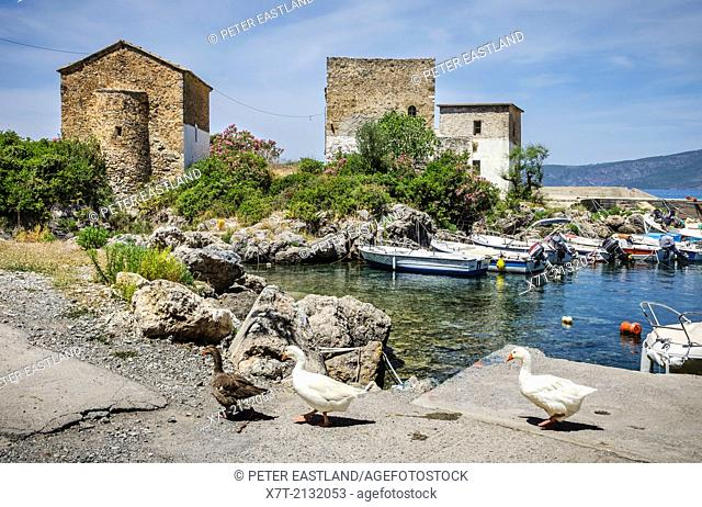 The old customs house and church at Kardamiyli harbour, in the outer Mani, Southern Peloponnese, Greece