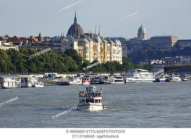 Budapest, Hungary, Central Hungary, Budapest, Danube, Capital City, Danube bank of Pest, Danube landscape, business houses and residential buildings