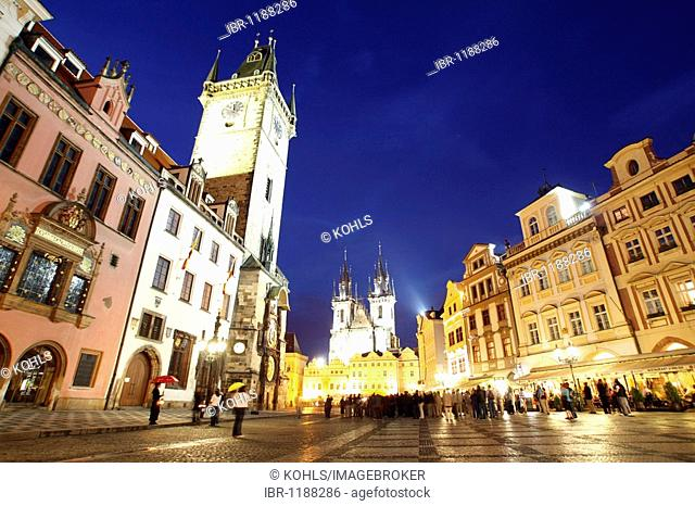 Old Town Square at night, Prague, Central Bohemia, Czech Republic, Eastern Europe